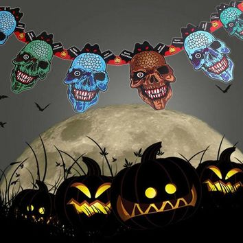 DCCKDZ2 2016 Cool Paper Chain Garland Halloween Paper Decorations Pumpkin Ghost Skull Shape Halloween Props For Halloween Party