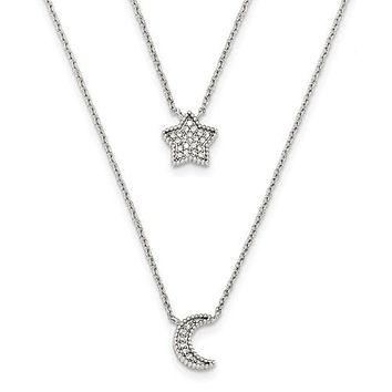 Sterling Silver Polished CZ Moon And Star Double Strand Necklace