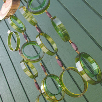 Recycled wine bottle wind chime, Juniper wood, Dark & Light Green glass, Beads, circle glass windchime