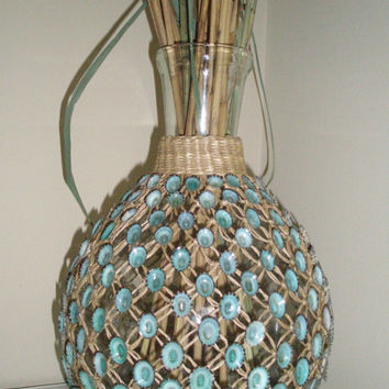 Shell Vase or Jar, Coastal Decor, Rattan Wrapped Glass Decorated With Gorgeous Blue Limpet Shells, Beach Decor, Recycle, Reuse,
