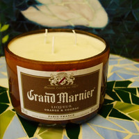 20 Ounce Pure Soy Candle in Reclaimed Grand Marnier Liquor Bottle - Your Choice of Scent