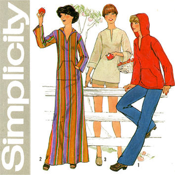 1970s Caftan Pattern Bust 36 38 Simplicity 8069 Hooded Tops Pullover Tunics Kurtis Sweatshirts Maxi Robes Womens Vintage Sewing Patterns