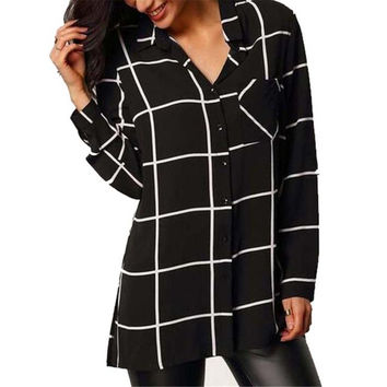 Women Casual Plaid PrinT-Shirt Blouse Long Sleeve Pocket Loose Chiffon Shirts Tops Blusas Femininos INY66
