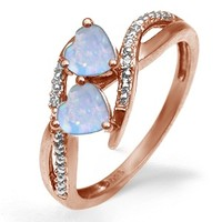 Kay - Lab-Created Opal Couple's Heart Ring Rose Gold