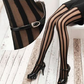 1 pcs Fashion Style Women Sexy Black Vertical Stripes Pattern Stockings Tights Pantyhose collant maille
