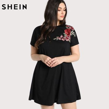 Plus size Rose Embroidered T-shirt Dress