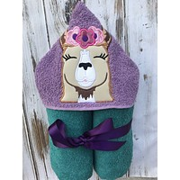 Girl Llama Hooded Towel