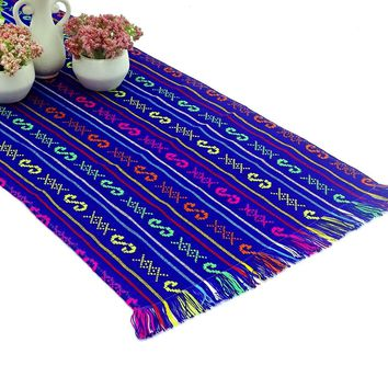 Mexican table runner, Purple Table runner 14x72 Inches, Fiesta Decoration, Cinco de Mayo, Boho Chic Decor, Fiesta Decor linens.