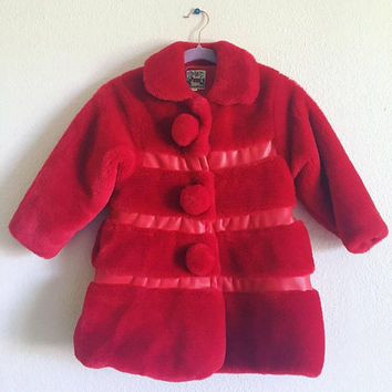 Vintage Pierre Kids Red Coat / Vintage Children's Clothing / Beautiful Red Jacket / Childs Size 6 / Pom Poms / Silk Lining / Rare