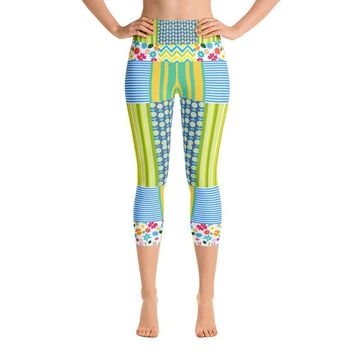 """Crazy Quilt"" Deluxe Made to Order Capri Yoga Pants"