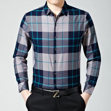 Men Blouse Plaid Slim Shirt Long Sleeve Casual Shirt [6544634371]