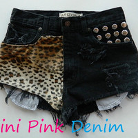 High Waist Black Leopard Print Shorts  SMALL by MiniPinkDenim