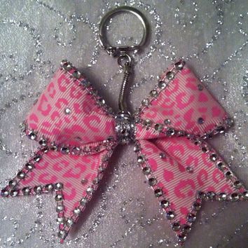 Cheer Bow Keychain Pink Leopard Bling
