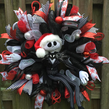 Nightmare Before Christmas, Jack Skellington Wreath, Christmas Jack Wreath, Jack Wreath, Christmas Mesh Wreath,Deco Mesh Wreath,NMBC