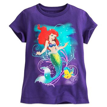 Original Disney Store Ariel & Flounder Organic Cotton T-Shirt Purple Girl 10/12