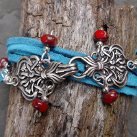 Celtic Pewter Clasp, Red Picasso Tri-Cut Beads and Turquoise Suede Leather Wrap Bracelet