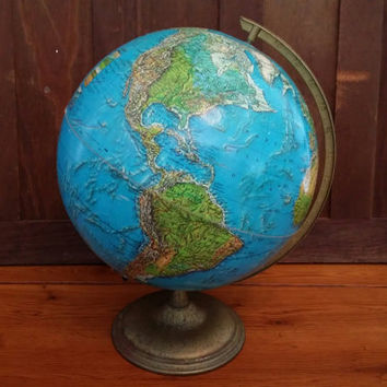 "Vintage 12"" Cram Enviro-Sphere Globe on Bronzed Metal Base Stand Great Decor for the Mantel Library Classroom"