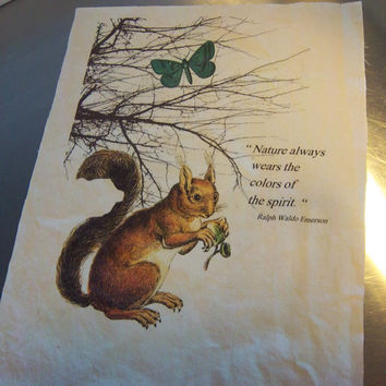 Squirrel fabric panel handmade quilt block Ralph Waldo Emerson quote cotton sewing supply scrapbooking art journal decoration home decor