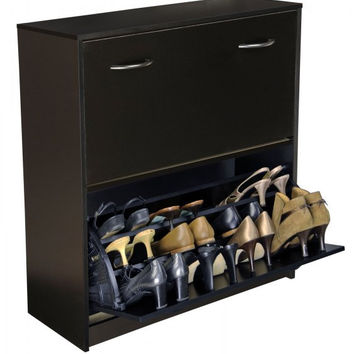 "Shoe Cabinet Holds 24 Shoes, Black Finish (Black) (34""H x 30""W x 11 1/2""D)"