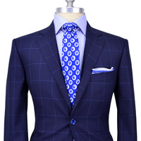 Belvest Navy with Blue Windowpane Suit