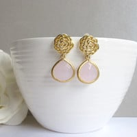 Romantic Gold Rose with Ice Pink Teardrop Ear Post Earrings. Sweet Modern Everyday Wear. Bridal Wedding Jewelry, Bridal Bridesmaid Gift