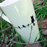 The impostor kitty cat tall pottery coffee mug tea black and white latte