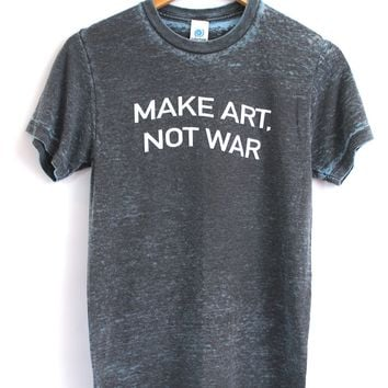 Make Art, Not War Blue Acid Wash Graphic Unisex Tee