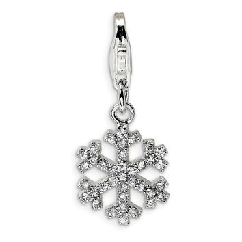 Sterling Silver CZ Snowflake w/Lobster Clasp Charm