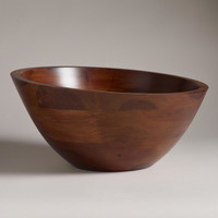 Angled Wood Salad Serving Bowl - World Market