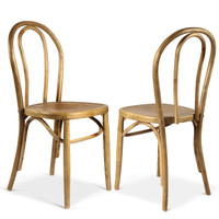 Adeco Light Brown Elm Wood Vintage-Style Concave Seat U-Back Dining Chair (Set of two)