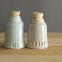salt and pepper bottles - porcelain clay with natural cork. modern pottery minimal design home decor