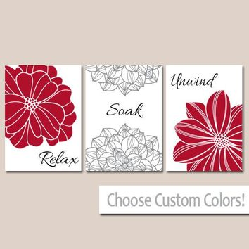 Red BATHROOM DECOR. WALL Art, Canvas or Print Flower  Bathroom Pictures Black Gray Relax Soak Unwind Quote Words Flower Decor  Set of 3
