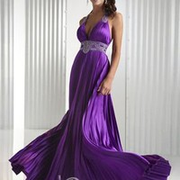 Sexy A-line Halter Floor-length Silk like Satin Beaded Prom Dress / Evening Dress 2013 Hot [10105393] - US$110.99 : DressKindom