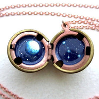 Cancer Constellation Locket - Personalized Jewelry - Moon and Stars in Outer Space