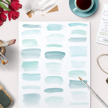 Photoshop Brushes Watercolor Brush Strokes including Bonus Teal Clipart files. Perfect for graphic designers. Real Watercolor graphics