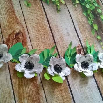 4 foot magnolia garland, sheet music black and white paper flowers, musical party theme band room decoration wedding decorations baby shower