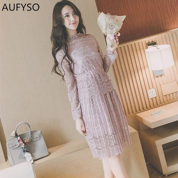 AUFYSO Lace Dress 2018 Spring Korean Vintage Elastic Waist Long Sleeve Pleated Midi Dress Pink Black White vestido festa D126