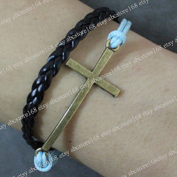 Bracelet-Cross bracelet Leather Bracelet Adjustable Blue Rope Bracelet-Gift for girlfriend or boyfriend
