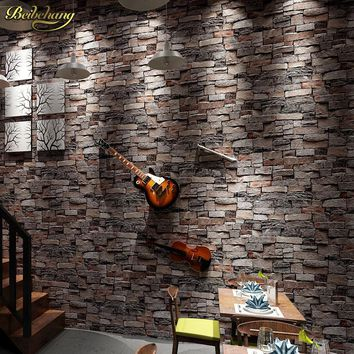 beibehang roll Chinese vintage style wallpaper popular wood brick stone wall paper home decoration 3D papel de parede roll