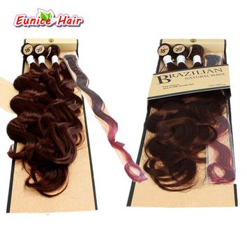 3 Tones Ombre Color Synthetic Hair Body Wave With Closure Ombre Body Wave Hair Weft Bundles Brazilian Natural Wave Hairpiece
