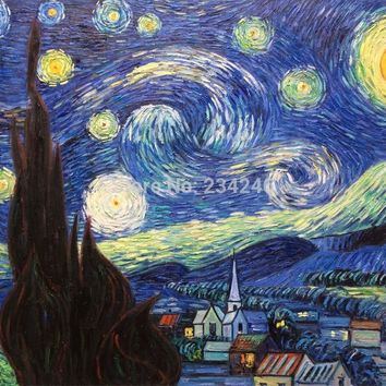 100% Hand Painted Painting Starry Night Vincent Van Gogh Oil Painting Wall Art Gift Home Decor Impressionist