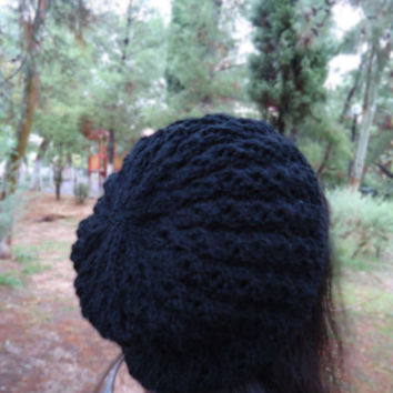 Hand knit wool black hat, hand knit slouchy beanie, womens hat, womens knit cap, womens accessories, winter knit hat, winter knitwear