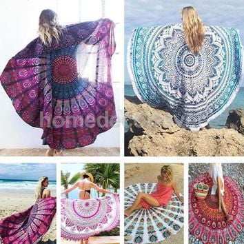 LMF9GW Round Cotton Indian Tapestry Hippy Boho Gypsy Wall Hanging Beach Towel Tablecloth Yoga Mat Decor Bohemian 56'