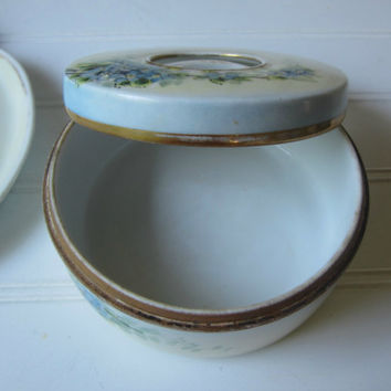 Vintage Vanity Tray and Hairpin Box Antique Bavarian Porcelain China Dresser Tray