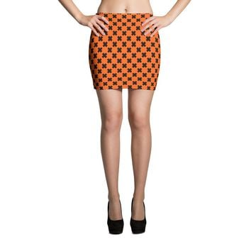 Halloween Orange and Black X Mini Skirt