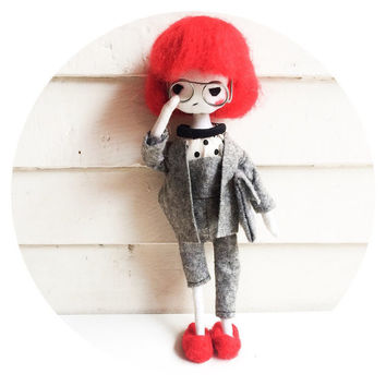 Art Doll, red hair Cloth Doll Miniature glasses OOAK Doll Art