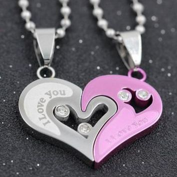 I Love You Heart Necklaces for Couples
