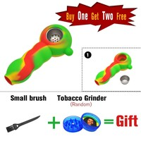 New Arrival Silicone Tobacco Pipes Silicone Smoking Pipes VS Glass Water Pipes Glass Herb Smoking Pipe
