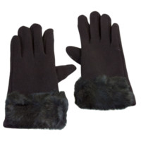 Faux Fur Wrist Band Touch Screen Gloves