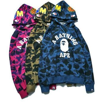 ca kuyou A Bathing Shark Mens Hoodie Bape Head Camo Jacket Pullover Sweatshirt Coat